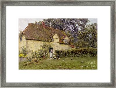 Feeding The Fowls Framed Print
