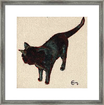 Chat Noir No. 1 Black Bombay Cat Painting Framed Print by Cecely Bloom