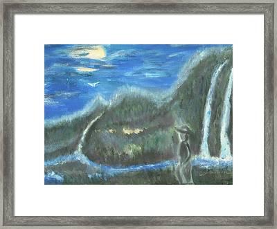 Feline Water Falls Framed Print by BJ Abrams