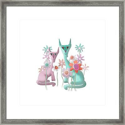 Felines In Flowers Framed Print