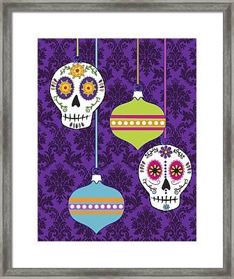 Feliz Navidad Holiday Sugar Skulls Framed Print