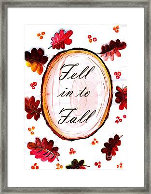 Fell In To Fall Framed Print by Sweeping Girl