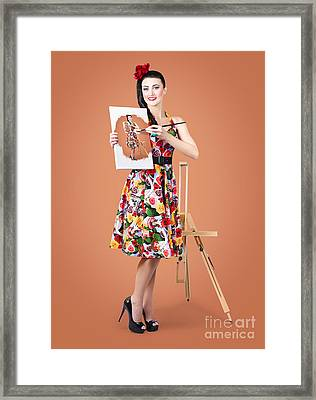 Female Artist Paints Self Portrait With Oil Paint Framed Print by Jorgo Photography - Wall Art Gallery