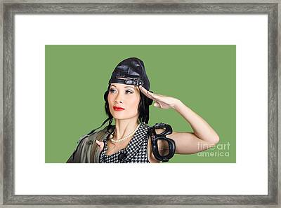 Female Aviation Lady Saluting In Pin-up Class Framed Print