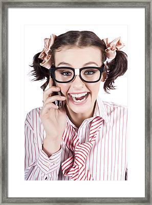 Female Business Person Selling On Smart Phone Framed Print by Jorgo Photography - Wall Art Gallery