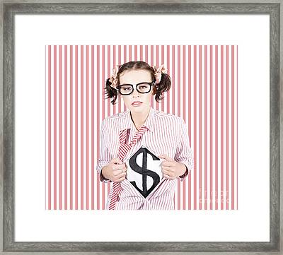 Female Business Superhero Showing Dollar Sign Framed Print by Jorgo Photography - Wall Art Gallery