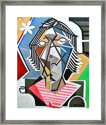 Female Bust With Tea Framed Print by Martel Chapman