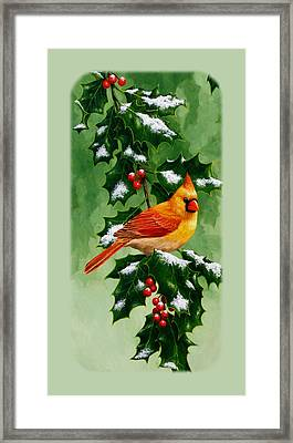 Female Cardinal And Holly Phone Case Framed Print by Crista Forest