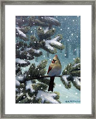 Female Cardinal Framed Print by Mark Mittlesteadt
