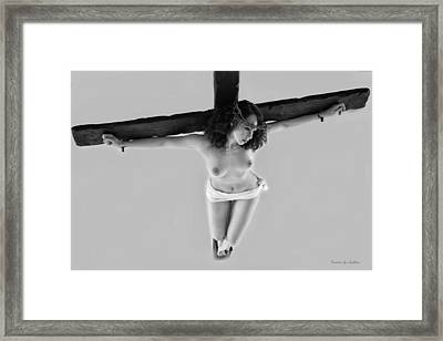 Female Christ On Cross V Framed Print