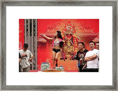 Framed Print featuring the photograph Female Dancer At A Temple Ceremony by Yali Shi