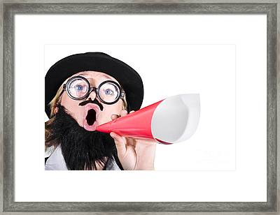 Female Dressed As A Man Shouting Through Megaphone Framed Print by Jorgo Photography - Wall Art Gallery