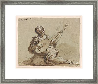 Female Figure With A Lute Framed Print by Celestial Images