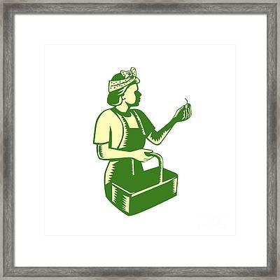 Female Fruit Picker Worker Basket Woodcut Framed Print by Aloysius Patrimonio