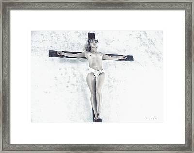 Female Jesus On Crucifix Framed Print