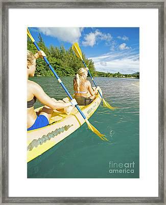 Female Kayakers Framed Print