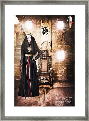 Female Member Of Royalty Standing By Golden Throne Framed Print by Jorgo Photography - Wall Art Gallery