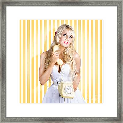 Female Model With Phone In Classic Retro Fashion Framed Print by Jorgo Photography - Wall Art Gallery