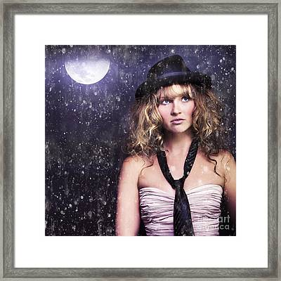 Female Moon Light Night Performer Acting In Rain Framed Print