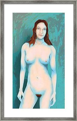Female Nude Blue With Red Hair Framed Print