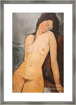 Female Nude By Amedeo Modigliani Framed Print