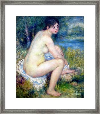 Female Nude In A Landscape, Femme Nue Dans Un Paysage, By Pierre Framed Print by Peter Barritt