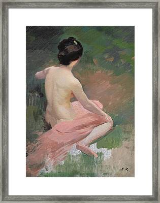 Female Nude Framed Print by Jules Ernest Renoux