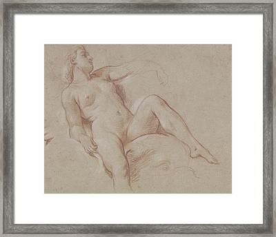 Female Nude On A Dolphin Framed Print