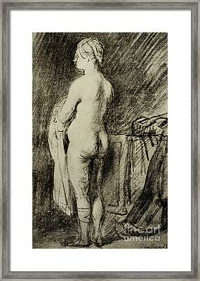 Female Nude Framed Print by Rembrandt Harmensz van Rijn