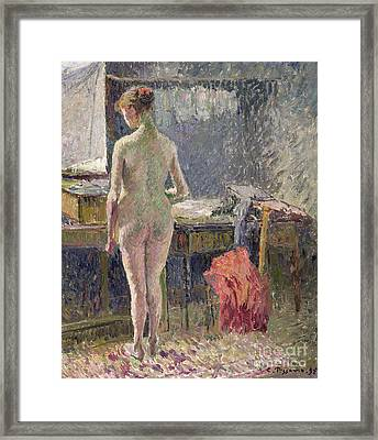 Female Nude Seen From The Back Framed Print by Camille Pissarro