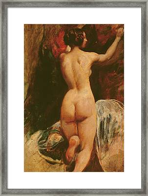 Female Nude Seen From The Back Framed Print by William Etty