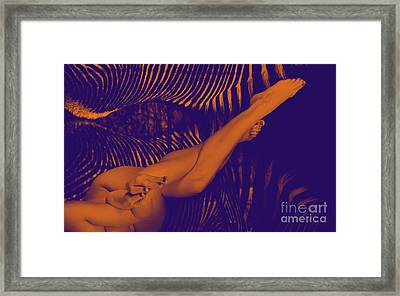 Female Nude Twisting Her Long Legs - 3003cr Framed Print by Cee Cee - Nude Fine Arts