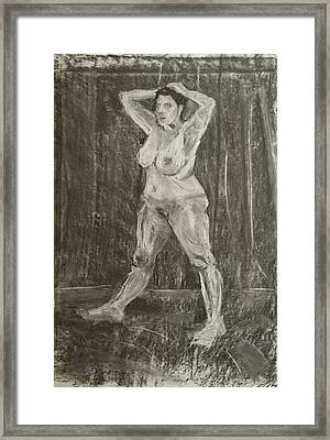 Female Nude Using Chalk And Charcoal Framed Print by Mike Jory