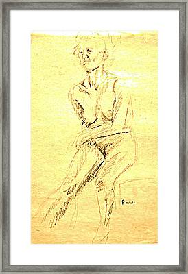 Female Nude With Arm Across Framed Print by Sheri Buchheit