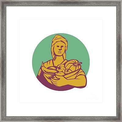 Female Organic Farmer Basket Harvest Circle Woodcut Framed Print