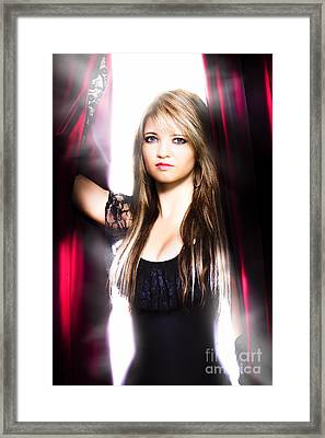 Female Performer Behind The Stage Curtain Light Framed Print by Jorgo Photography - Wall Art Gallery