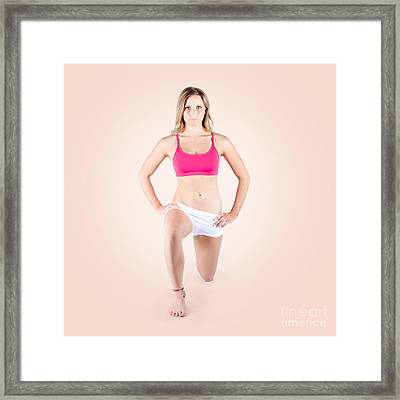 Female Personal Trainer Warming Up Before Exercise Framed Print by Jorgo Photography - Wall Art Gallery
