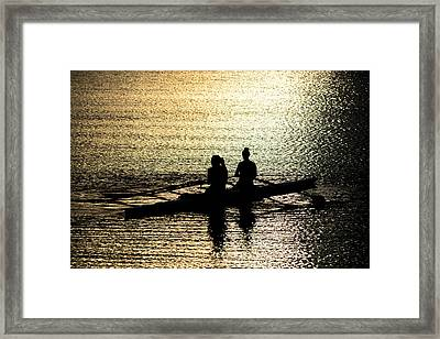 Female Rowers On Sunset Lake Framed Print by Andreas Berthold