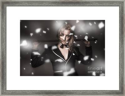 Female Showgirl Performing On A Theater Stage Framed Print