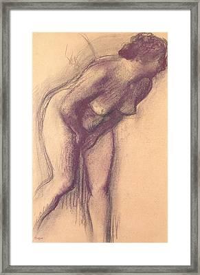 Female Standing Nude Framed Print by Edgar Degas