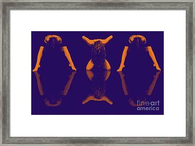 Female Symmetrical Nude Times Three In Orange Violet - 3031da Framed Print by Cee Cee - Nude Fine Arts