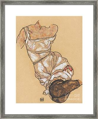 Female Torso In Lingerie And Black Stockings Framed Print by Egon Schiele
