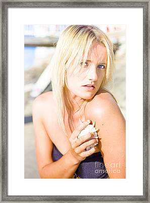 Female Touching Her Fresh Clean Skin With Shell Framed Print by Jorgo Photography - Wall Art Gallery