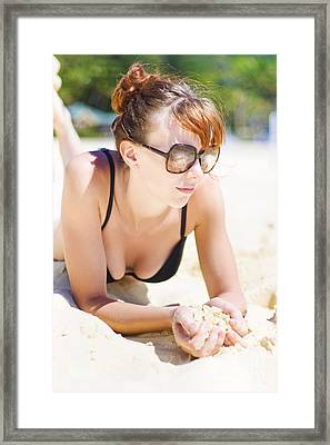 Female Tourist Resting In Tropical Island Paradise Framed Print