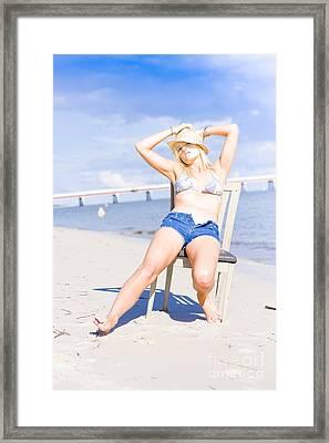 Female Traveling Tourist Framed Print