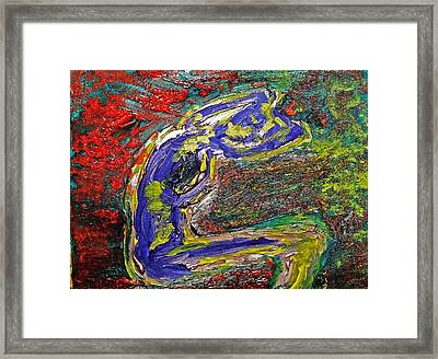 Female Washing Hair With Bold Primary Colors Textures And Expressionism  Framed Print