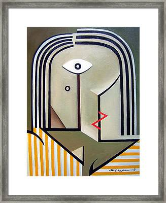 Female Yellow Stripes Framed Print by Martel Chapman