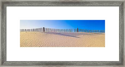 Fence Along Beach At Santa Rosa Island Framed Print by Panoramic Images