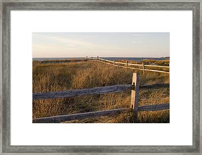 Fence Along The Dunes - Madaket - Nantucket Framed Print