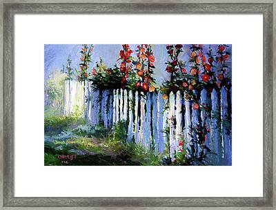 Fence And Flowers Framed Print